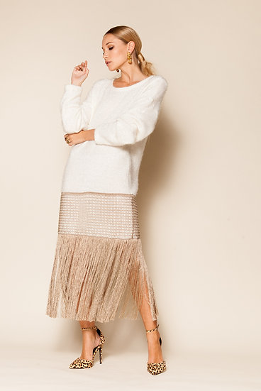 CUPID WOOL FRINGED PULLOVER DRESS