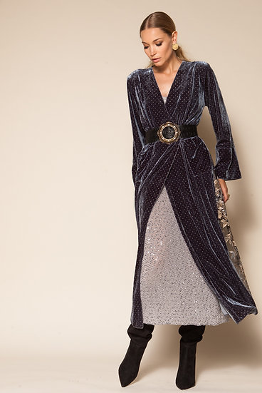 THIRD QUARTER VELVET STUDDED SLIT DRESS