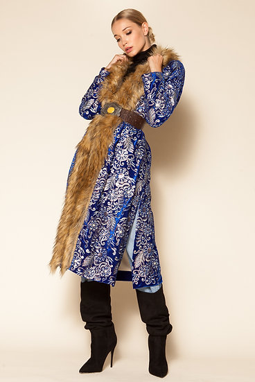 GIBBUS VELVET EMBROIDERED FAUX FUR LIGHT COAT