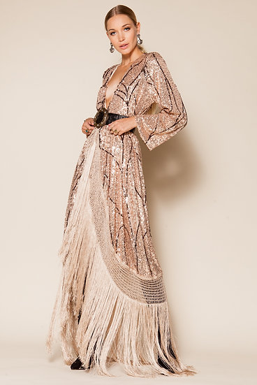 PORTIA SEQUINED FRINGED TULLE KIMONO DRESS