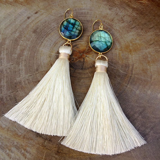 STONED LOVE TASSEL EARRINGS - LABRADORITE