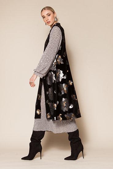 FULL MOON SEQUINED SLEEVE KIMONO DRESS