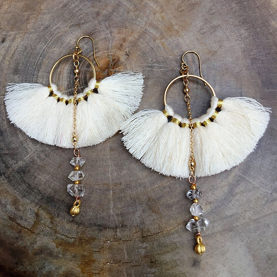 DIAMOND EYES TASSEL EARRINGS