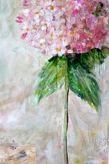 Single Pink Hydrangea Painting
