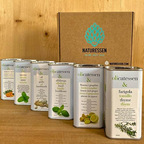 6er Packung Bio-Olivenöl mit allen Gewürzgeschmäckern