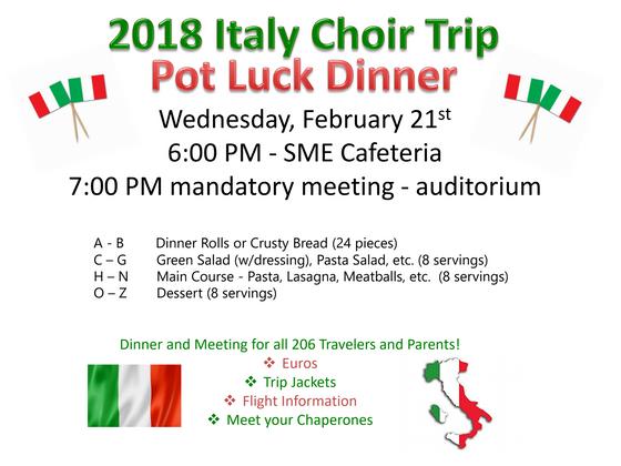 Italy Trip Pot Luck Info