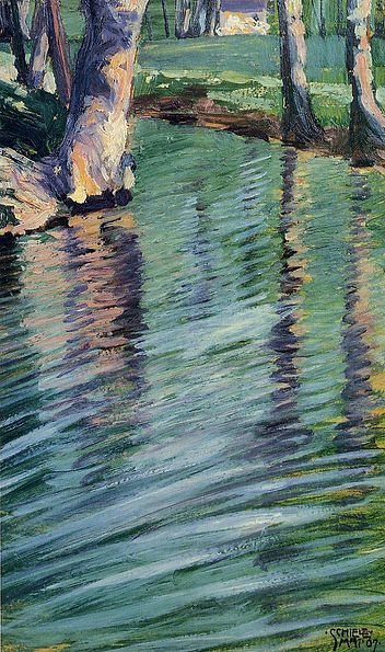 trees-mirrored-in-a-pond-Egon-Schiele-19
