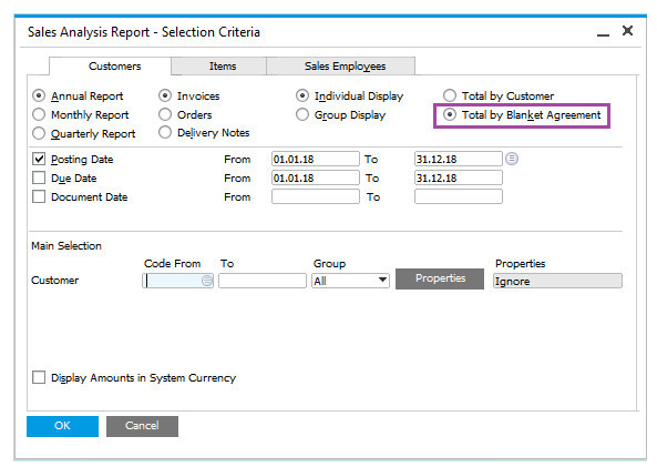 Track Customer Agreements with Sales Blanket Agreements in