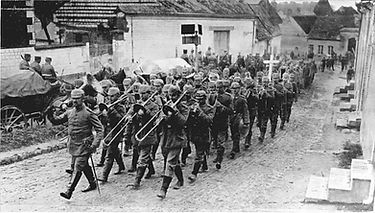 German Unit Led By Brass Band–Western Front Witness–WW1 Music-Songs from WW1-World War 1 Music