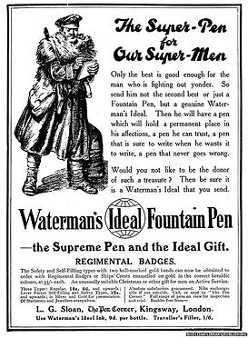 Waterman's Ideal Fountain Pen–Western Front Witness–Propaganda in WW1-Censorship in WW1-DORA WW1