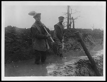 Flooded British Trenches–Western Front Witness–Life in Trenches-Trench Warfare WW1-WW1 Trench Life