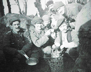 British Soldiers with Brazier–Western Front Witness–Life in Trenches-Trench Warfare WW1-WW1 Trench Life