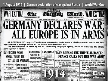Newspaper August 1914 –Western Front Witness –July Crisis -Causes of WW1 –How Did WW1 Start?- Outbreak of WW1