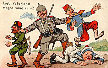 German Cartoon of them Winning–Western Front Witness– The Christmas Truce 1914- Christmas Day Truce WW1