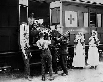 British Wounded Transported Out–Western Front Witness–Casualties of WW1-WW1 Heroes-British Casualties WW1
