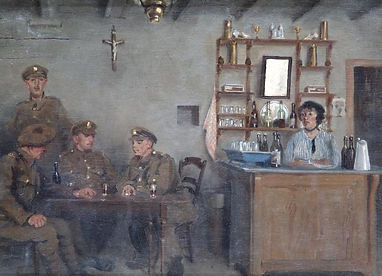 Painting Belgian Estaminet–Western Front Witness–Life in Trenches-Trench Warfare WW1-WW1 Trench Life