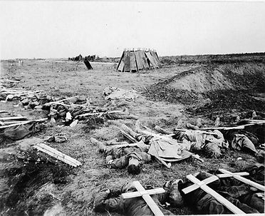 British Soldiers Await Burial Ypres 1914 -Western Front Witness– First Battle of Ypres–Ypres WW1 1914