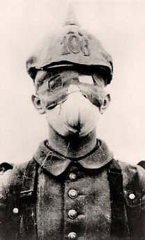 German Soldier with Gas Mask–Western Front Witness–German Army WW1-German Soldiers WW1-Adolf Hitler WW1