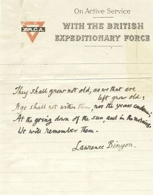 For the Fallen Laurence Binyon–Western Front Witness– Famous WW1 Soldiers-WW1 Poets- Famous People in WW1