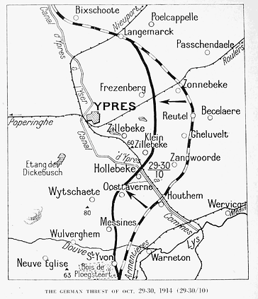 Map of Ypres Trenches Around the Salient–Western Front Witness– First Battle of Ypres–Ypres WW1 1914