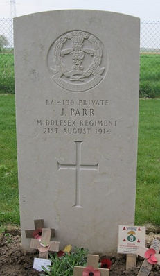 Grave of John Parr First British soldier Killed in WW1–Western Front Witness –Retreat from Mons August 1914 –Battle of Mons
