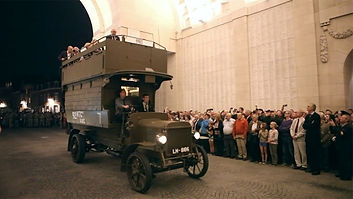 London Bus at Menin Gate-Western Front Witness– Race to the Sea Antwerp 1914– British Army WW1
