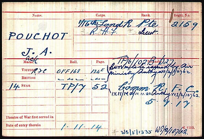 Medal Index Card Jack Pouchot–Western Front Witness–Casualties of WW1-WW1 Heroes-British Casualties WW1