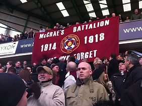 McCrae's Battalion Banner at Hearts Match – Western Front Witness – Football Remembers – WW1 Footballers Battalion