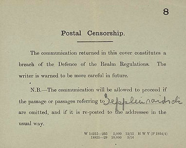 Postal Censorship in WW1- Western Front Witness–Propaganda in WW1-Censorship in WW1-DORA WW1