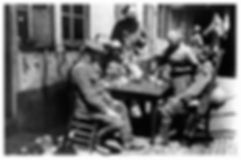 British Soldiers at French Cafe–Western Front Witness–Life in Trenches-Trench Warfare WW1-WW1 Trench Life
