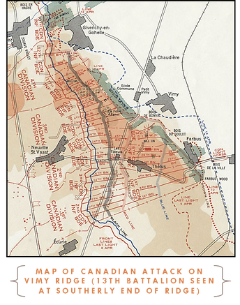 Map of Vimy Ridge-Western Front Witness- Sample Last Action Hero soldier research –Search for WW1 soldiers