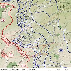 Map of La Boiselle – Western Front Witness - WW1 Battlefields Audio Guide – Somme Witness- WW1 sites to visit