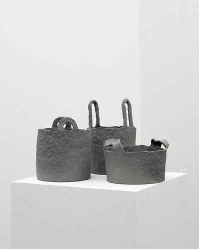 Sisse Lee, 3 Dark Gray Porcelain Vessels, 2019