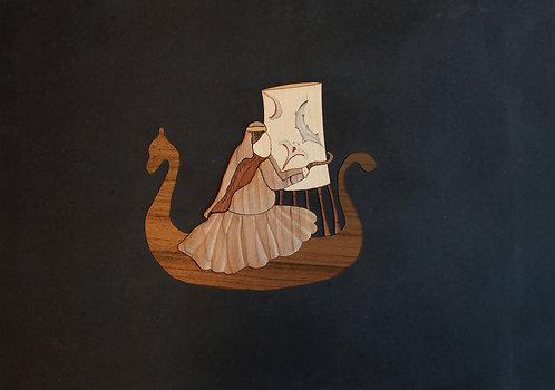 "Sarah Rezayat, ""Persian girl weaving her future on Viking ship"", 2019"