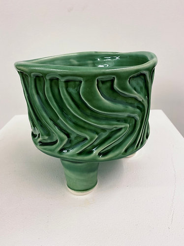 Lene Tori Obel Bugge «Green zig-zag vessel», 2020