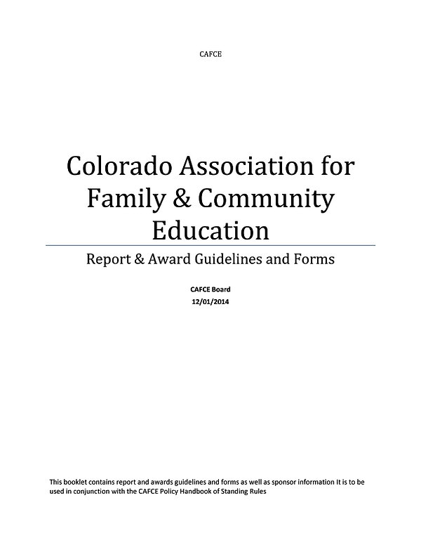 2014 Report and Awards Guidelines and Fo
