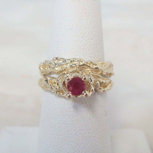 Nugget Style Ruby Ring Set