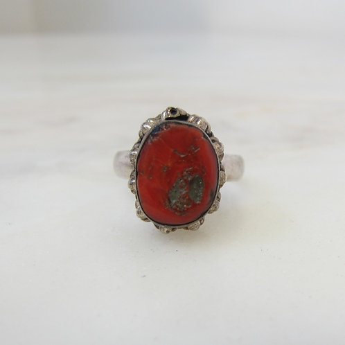 Silver Coral Stone Ring