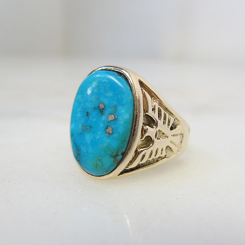 Turquoise Ring with Thunderbird Eagles