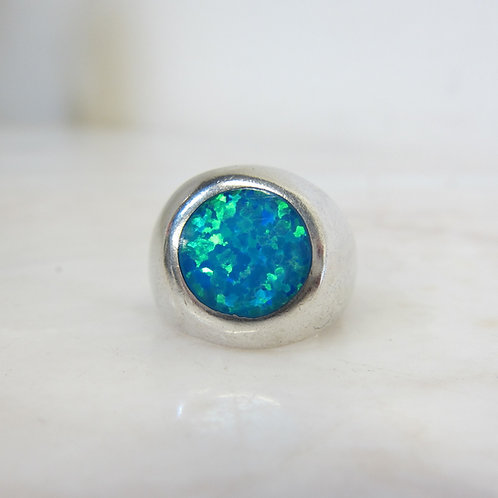 Silver Ring with Blue Green Stone