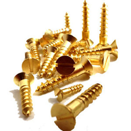 "1 1/2"" 12's Solid Brass csk Slotted Screws"