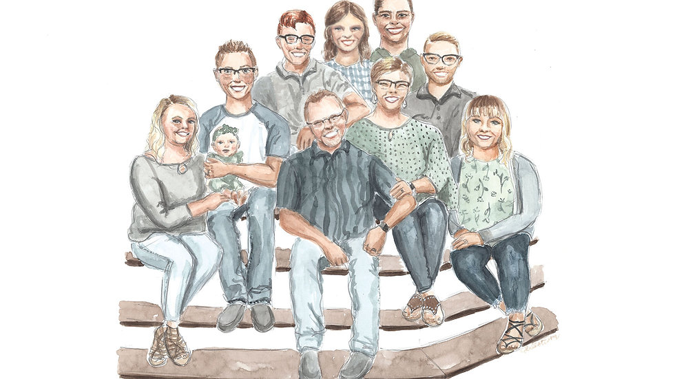 Custom Watercolor Family Painting
