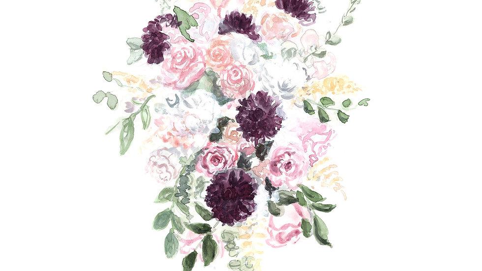 Custom Watercolor Wedding Bouquet Painting