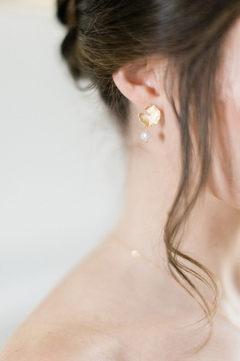 Bijoux mariée - Boucles d'oreilles mariée feuille nénuphar plaqué or 14K et perle de culture