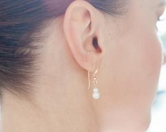 Bijoux mariée - Boucles d'oreilles mariée - Blanche - 2 perles naturelles de culture