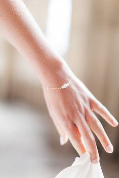 Bijoux mariée - Bracelet mariée - Blanche - plaqué or 14 K et perles de culture