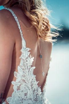 Bijoux mariée - Bijou de dos mariée -Mélissa - perles diamantées argent 925