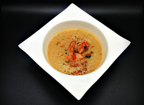 Exquisite homemade dish!!!!!!!!  Homemade Celery root cream soup with, Argentinian Red Shrimp