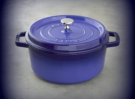 Cast Iron  Round Cocotte, Dark Blue-Made in France