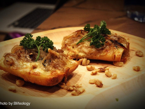 Ciabatta Crostini  With Brie cheese and Caramelized onion''
